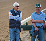 LOUISVILLE, KY - MAY 03: Bob Baffert talks to Riley Mott while Justify works out on the track at Churchill Downs on May 3, 2018 in Louisville, Kentucky. (Photo by Scott Serio/Eclipse Sportswire/Getty Images)