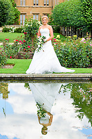 Bride reflection in Knebworth House Gardens, Stevenage, Hertfordshire.
