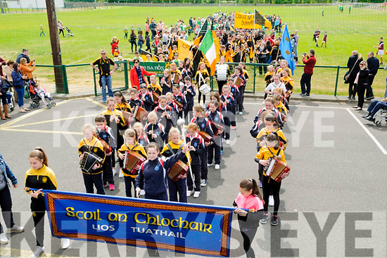 Scoil ab Chlochair band laeding the La na gClub parade out of Listowel  Emmetts grounds on Sunday Last.