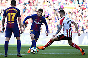 18th March 2018, Camp Nou, Barcelona, Spain; La Liga football, Barcelona versus Athletic Bilbao; Philippe Coutinho of FC Barcelona passes the ball to Paco Alcacer of FC Barcelona under pressure from Unai Nunez of Athletic Bilbao