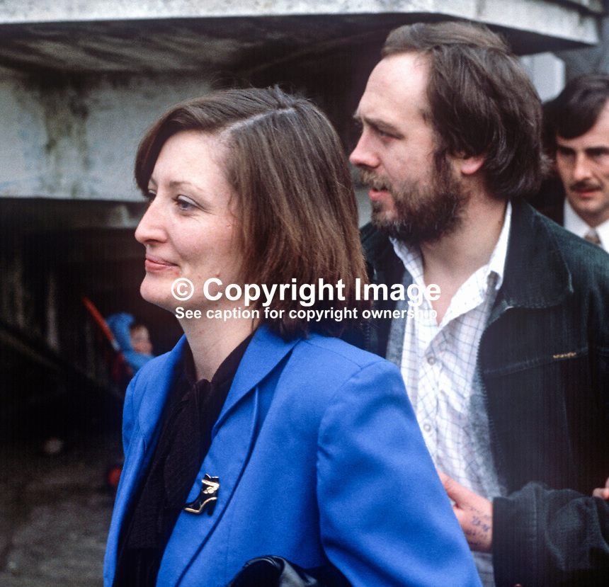 Marcella Sands, sister of Bobby Sands, and Danny Morrison, Provisional Sinn Fein director of publicity and spokeman for Bobby Sands, who was the leader of the Anti H-Blocks hunger strikers. Photo taken following Sands' Fermanagh and South Tyrone by-election victory on 10th April 1981. Bobby Sands died on 5th May 1981 a few weeks later still on hunger strike. 198104100060S4. .Copyright Image from Victor Patterson, 54 Dorchester Park, Belfast, United Kingdom, UK...For my Terms and Conditions of Use go to http://www.victorpatterson.com/Victor_Patterson/Terms_%26_Conditions.html