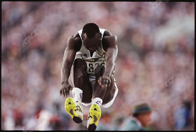 Triple jump, men, Nigerian athlete. Summer Olympics, Atlanta, Georgia, USA August, 1996.