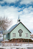 USA, California, Mammoth, an old brick church rests on the side of the road leading out to the Mammoth Hot Springs