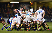 The front rows pop up at a scrum. Aviva Premiership match, between Bath Rugby and Wasps on December 29, 2017 at the Recreation Ground in Bath, England. Photo by: Patrick Khachfe / Onside Images