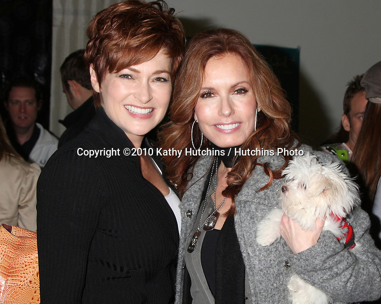 LOS ANGELES - NOV 20:  Carolyn Hennesy, Tracey Bregman, and dog in training Hazel at the Connected's Celebrity Gift Suite celebrating the 2010 American Music Awards at Ben Kitay Studios on November 20, 2010 in Los Angeles, CA