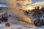 Yellowstone National Park, Wyoming:<br /> Sunrise at Mammoth Hot Springs, winter