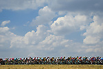 The peloton in action during Stage 8 of the 2018 Tour de France running 181km from Dreux to Amiens Metropole, France. 14th July 2018. <br /> Picture: ASO/Alex Broadway | Cyclefile<br /> All photos usage must carry mandatory copyright credit (&copy; Cyclefile | ASO/Alex Broadway)