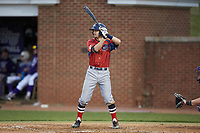 Michael Anastasia (9) of the NJIT Highlanders at bat against the High Point Panthers at Williard Stadium on February 18, 2017 in High Point, North Carolina. The Highlanders defeated the Panthers 4-2 in game two of a double-header. (Brian Westerholt/Four Seam Images)