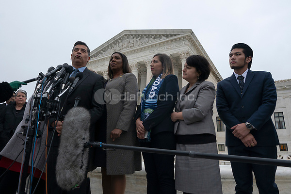 California Attorney General Xavier Becerra, left, speaks to the press after the Supreme Court heard arguments on the Deferred Action for Childhood Arrivals program in Washington D.C., U.S. on Tuesday, November 12, 2019.<br /> <br /> Credit: Stefani Reynolds / CNP /MediaPunch
