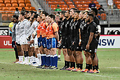 3rd February 2019, Spotless Stadium, Sydney, Australia; HSBC Sydney Rugby Sevens; New Zealand versus USA; Mens Final; New Zealand sing their national anthem before kick off