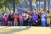 Justin Rose (ENG) lines up his putt to win on the 18th green at the end of Sunday's Final Round of the 2018 Turkish Airlines Open hosted by Regnum Carya Golf &amp; Spa Resort, Antalya, Turkey. 4th November 2018.<br /> Picture: Eoin Clarke | Golffile<br /> <br /> <br /> All photos usage must carry mandatory copyright credit (&copy; Golffile | Eoin Clarke)