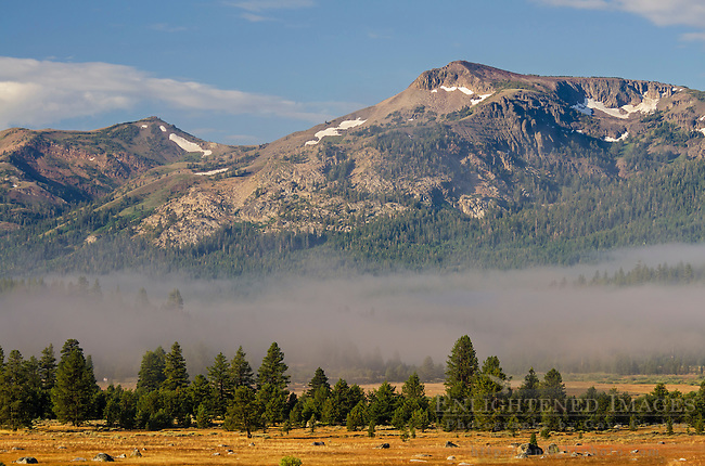 Morning fog and mountains of the Sierra Nevada, Hope Valley, Alpine County, California
