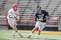 College Park, MD - February 25, 2017: Yale Bulldogs Jackson Morrill (12) is being defended by a Maryland Terrapins defender during game between Yale and Maryland at  Capital One Field at Maryland Stadium in College Park, MD.  (Photo by Elliott Brown/Media Images International)