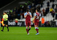2nd November 2019; London Stadium, London, England; English Premier League Football, West Ham United versus Newcastle United; A disappointed Declan Rice of West Ham United looks down at the pitch with Ryan Fredericks of West Ham United after the final whistle - Strictly Editorial Use Only. No use with unauthorized audio, video, data, fixture lists, club/league logos or 'live' services. Online in-match use limited to 120 images, no video emulation. No use in betting, games or single club/league/player publications
