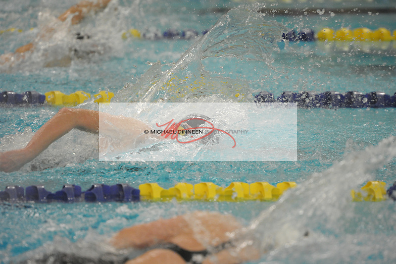 Chugiak's Izzy Powers powers her way through a preliminary heat of the 50-yard freestyle at the state finals Friday, Nov. 6, 2015.  Photo for the Star by Michael Dinneen