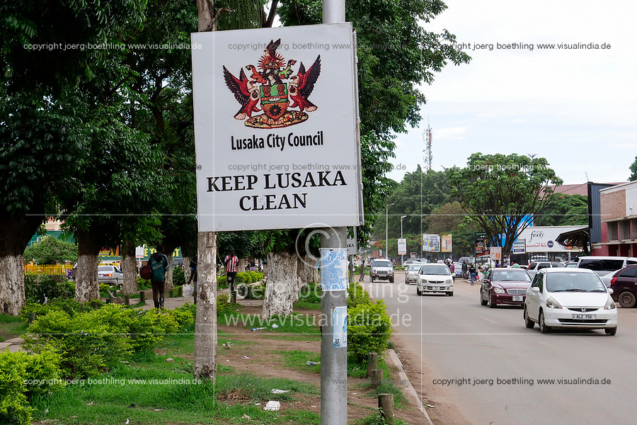 ZAMBIA, capital Lusaka, downtown, Cairo Road, signboard, keep Lusaka clean