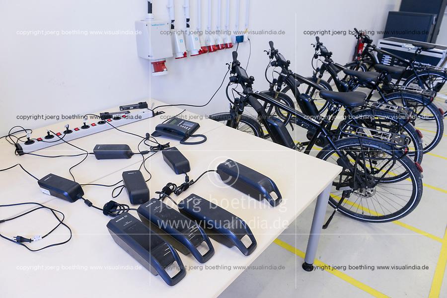 GERMANY, Hamburg,, charging station for e-bikes / Hamburg Bergedorf Energiecampus CC4E, Batterieladesstation fuer E-Bikes