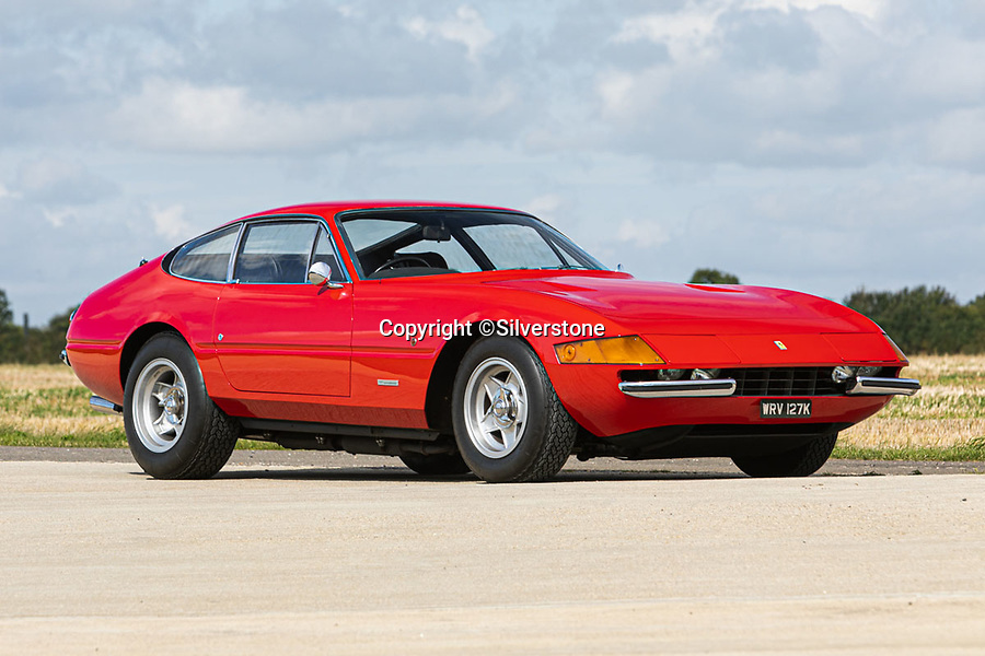 BNPS.co.uk (01202 558833)<br /> Pic: Silverstone/BNPS<br /> <br /> The original 'Rocketman's' Ferrari Daytona...<br /> <br /> It's gonna be a long long time before you find a better Ferrari Daytona than this one first owned by Elton John in the 1970's.<br /> <br /> A Ferrari supercar Sir Elton John bought with the proceeds of his legendary album 'Goodbye Yellow Brick Road' has emerged for sale for £475,000.<br /> <br /> The 365 GTB/4 Daytona was bought by the 'Rocketman' in 1973 following the success of his seventh studio album.<br /> <br /> The release reached number one in both the UK and America with the singer treating himself to the Ferrari to celebrate.