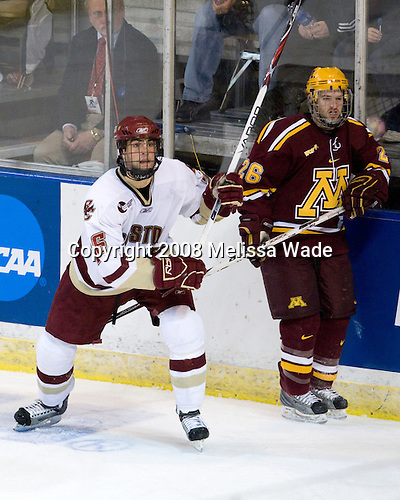 Nick Petrecki (BC - 26), Jay Barriball (Minnesota - 26) - The Boston College Eagles defeated the University of Minnesota Golden Gophers 5-2 on Saturday, March 29, 2008, in the NCAA Northeast Regional Semi-Final at the DCU Center in Worcester, Massachusetts.