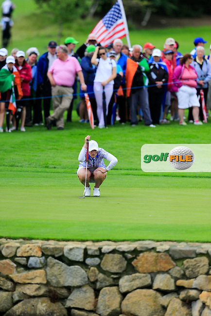 Olivia Mehaffey  on the 17th during Sunday Singles matches at the 2016 Curtis cup from Dun Laoghaire Golf Club, Ballyman Rd, Enniskerry, Co. Wicklow, Ireland. 12/06/2016.<br /> Picture Fran Caffrey / Golffile.ie<br /> <br /> All photo usage must carry mandatory copyright credit (&copy; Golffile | Fran Caffrey)