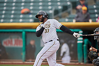 Chris Carter (33) of the Salt Lake Bees bats against the Albuquerque Isotopes at Smith's Ballpark on April 8, 2018 in Salt Lake City, Utah. Albuquerque defeated Salt Lake 11-4. (Stephen Smith/Four Seam Images)