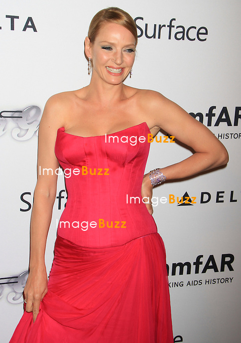Uma Thurman attends the 4th Annual amfAR Inspiration Gala. New York, June 14, 2013.