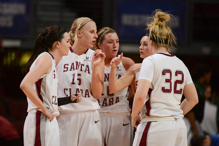 March 6, 2014; Las Vegas, NV, USA; Santa Clara Broncos guard Ricki Radanovich (4), forward Marie Bertholdt (15), guard/forward Katie Hawkins (10), guard Nici Gilday (12), and forward Jo Paine (32) huddle against the Pepperdine Waves during the second half of the WCC Basketball Championships at Orleans Arena. The Waves defeated the Broncos 80-74.