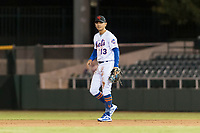 Scottsdale Scorpions second baseman Andres Gimenez (13), of the New York Mets organization, during an Arizona Fall League game against the Surprise Saguaros at Scottsdale Stadium on October 15, 2018 in Scottsdale, Arizona. Surprise defeated Scottsdale 2-0. (Zachary Lucy/Four Seam Images)