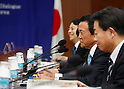 Taro Aso, Aug 27, 2016 : Japanese Finance Minister Taro Aso (2nd R) talks with his South Korean counterpart Yoo Il-ho (not seen in photo) at an office of the South Korean Government Complex Seoul in Seoul, South Korea. The bilateral meeting was the seventh talks between Japan and South Korea since 2006. The finance ministers from Japan and South Korea agreed on Saturday to resume a currency swap deal to strengthen bilateral economic cooperation, local media reported. (Photo by Lee Jae-Won/AFLO) (SOUTH KOREA)