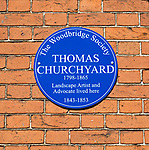 Blue plaque on home of Thomas Churchyard, 1798-1865, landscape artist and advocate, Woodbridge, Suffolk, England, UK