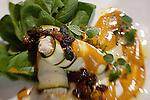 Zucchini and soy ricotta make up an elegant vegan manicotti at the Sakti Dining Room