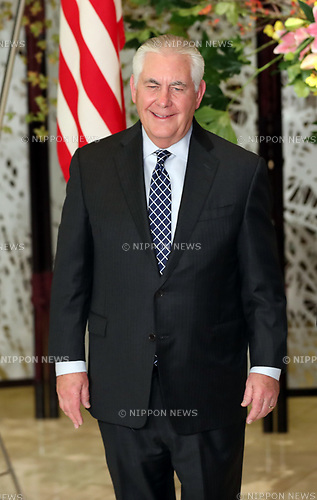 November 5, 2017, Tokyo, Japan - U.S. Secretary of State Rex Tillerson arrives at the Iikura guesthouse for the working dinner with Japanese Foreign Minister Taro Kono prior to their working dinner in Tokyo on Sunday, November 5, 2017. U.S. President Donald Trump arrived here on a three-day official visit to Japan for the first leg of his Asian tour.    (Photo by Yoshio Tsunoda/AFLO) LWX -ytd-