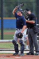 New York Yankees minor league player catcher Jeff Farnham #34 in the field during a game vs the Toronto Blue Jays at the Englebert Minor League Complex in Dunedin, Florida;  March 21, 2011.  Photo By Mike Janes/Four Seam Images