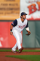 Cedar Rapids Kernels second baseman Rafael P Valera (17) during a game against the Kane County Cougars on August 18, 2015 at Perfect Game Field in Cedar Rapids, Iowa.  Kane County defeated Cedar Rapids 1-0.  (Mike Janes/Four Seam Images)