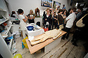 """Experimental Food Society event in Brick Lane London.25.9.10.Weird and wacky food art..Bread artist Sharon Baker made a life sized model of her own body - she looked """"brown bread"""" but the flour was white...Picture by Gavin Rodgers/ Pixel 07917221968"""