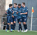 Forfar's Gavin Swankie (10) is congratulated by Forfar's Dale Hilson (left), Danny Denholm (7), and Stephen Husband (8) after he scored their goal.