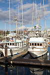 Fishing boats, commercial salmon trollers, Port of Port Townsend, Commercial Basin, Port Townsend, Jefferson County, Puget Sound, Olympic Peninsula, Washington State,