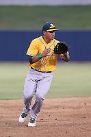 Edwin Diaz (14) of the AZL Athletics prepares to field a ball during a game against the AZL Brewers at Maryvale Baseball Park on June 30, 2015 in Phoenix, Arizona. Brewers defeated Athletics, 4-2. (Larry Goren/Four Seam Images)