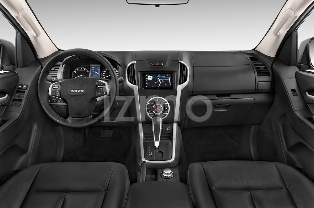Stock photo of straight dashboard view of a 2015 Isuzu D-Max LSX 4 Door Pickup 2WD Dashboard