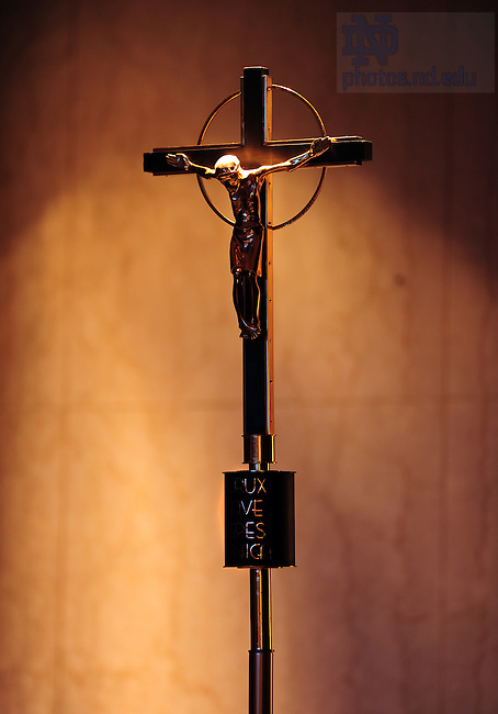 Crucifix in Moreau Seminary chapel..Photo by Matt Cashore/University of Notre Dame