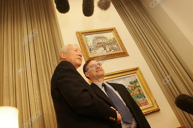 Supreme Court nominee Judge Samuel Alito, visiting senators on capital hill (Orrin Hatch, and John Kyl). Washington DC. Nov 1, 2005