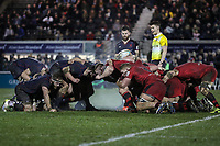 A scrum during the Greene King IPA Championship match between London Scottish Football Club and Jersey Reds at Richmond Athletic Ground, Richmond, United Kingdom on 16 March 2018. Photo by David Horn.