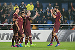 Federico Fazio of AS Roma celebrates with teammates during the match Villarreal CF vs AS Roma, part of the UEFA Europa League 2016-17 Round of 32 at the Estadio de la Cerámica on 16 February 2017 in Villarreal, Spain. Photo by Maria Jose Segovia Carmona / Power Sport Images