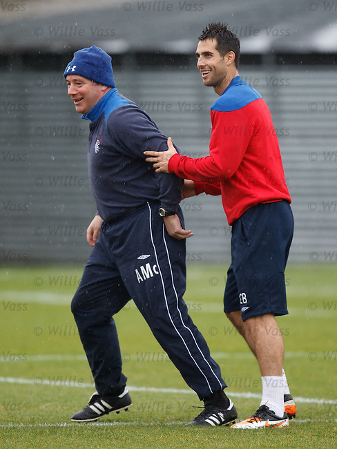 Ally McCoist held back by Carlos Bocanegra as a bit of cheating occurs before the sprints