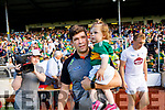 Kerry manager Éamonn Fitzmaurice with his daughter Faye after the GAA Football All-Ireland Senior Championship Quarter-Final Group 1 Phase 3 match between Kerry and Kildare at Fitzgerald Stadium in Killarney, on Saturday evening.