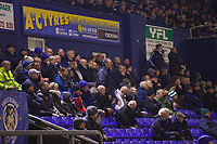 Oldham Athletic fans reacts to referee decisions went agains their team during the Sky Bet League 1 match between Oldham Athletic and AFC Wimbledon at Boundary Park, Oldham, England on 21 November 2017. Photo by Juel Miah/PRiME Media Images