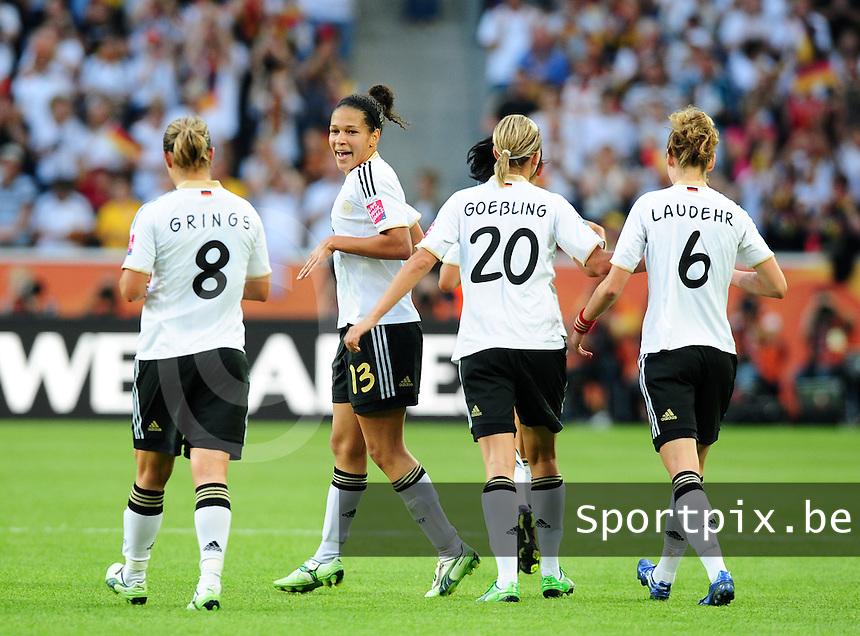 Fifa Women's World Cup Germany 2011 : France - Germany ( Frankrijk - Duitsland ) at Munchengladbach World Cup stadium : Celia OKOYINO DA MBABI blij met de voorsprong tegen Frankrijk.foto DAVID CATRY / Vrouwenteam.be