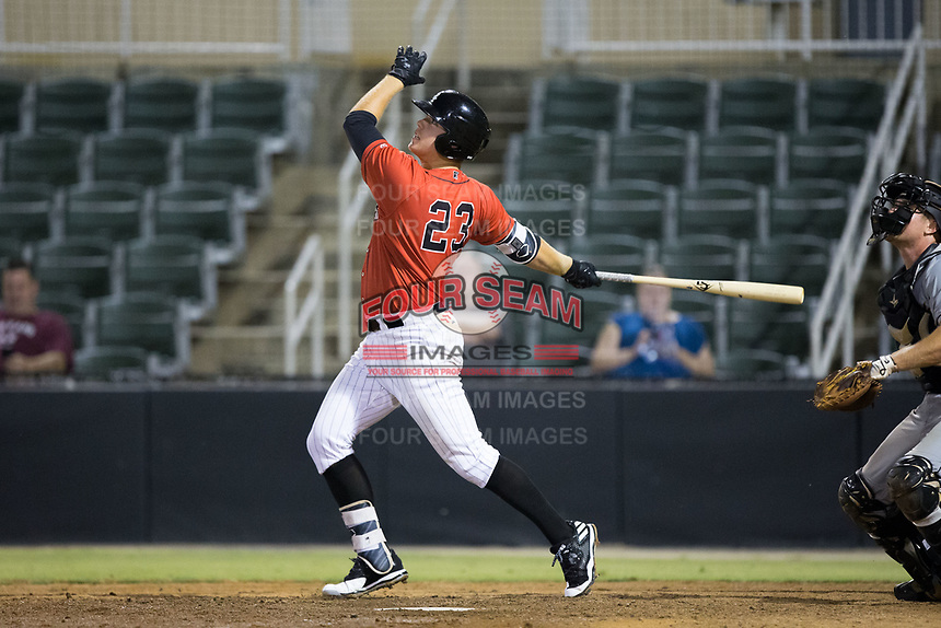 Gavin Sheets (23) of the Kannapolis Intimidators follows through on his swing against the West Virginia Power at Kannapolis Intimidators Stadium on July 19, 2017 in Kannapolis, North Carolina.  The Power defeated the Intimidators 7-4 in 11 innings.  (Brian Westerholt/Four Seam Images)