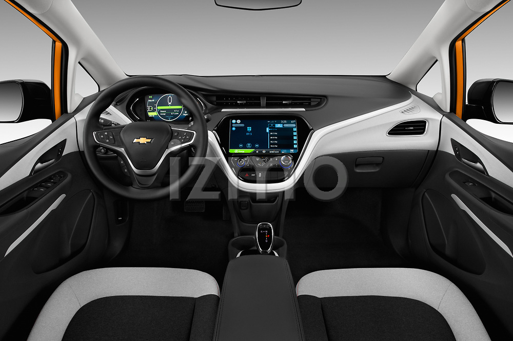 Stock photo of straight dashboard view of a 2018 Chevrolet Bolt EV LT 5 Door Hatchback