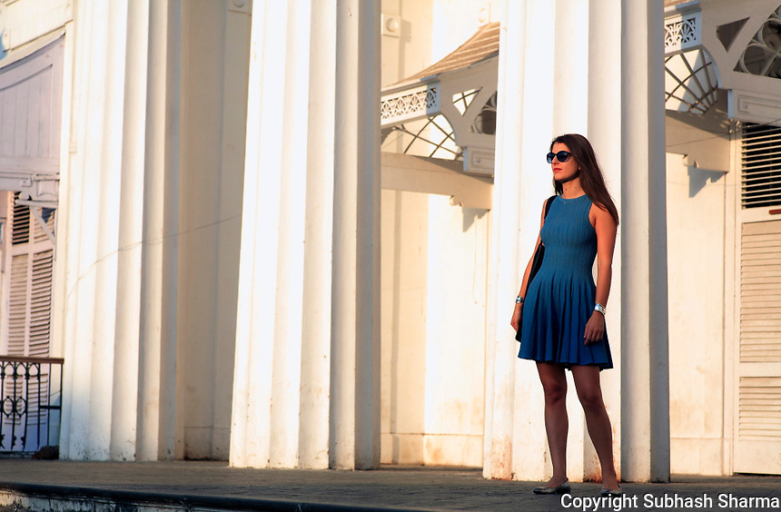 Mumbai , INDIA :<br /> Cecilia Morelli Parikh at the Asiatic Society State Central Library which is one of the oldest landmarks in Mumbai founded in 1804.<br /> <br /> Cecilia Morelli Parikh, stylish and founder owner of High Fashion Store,Le Mill.